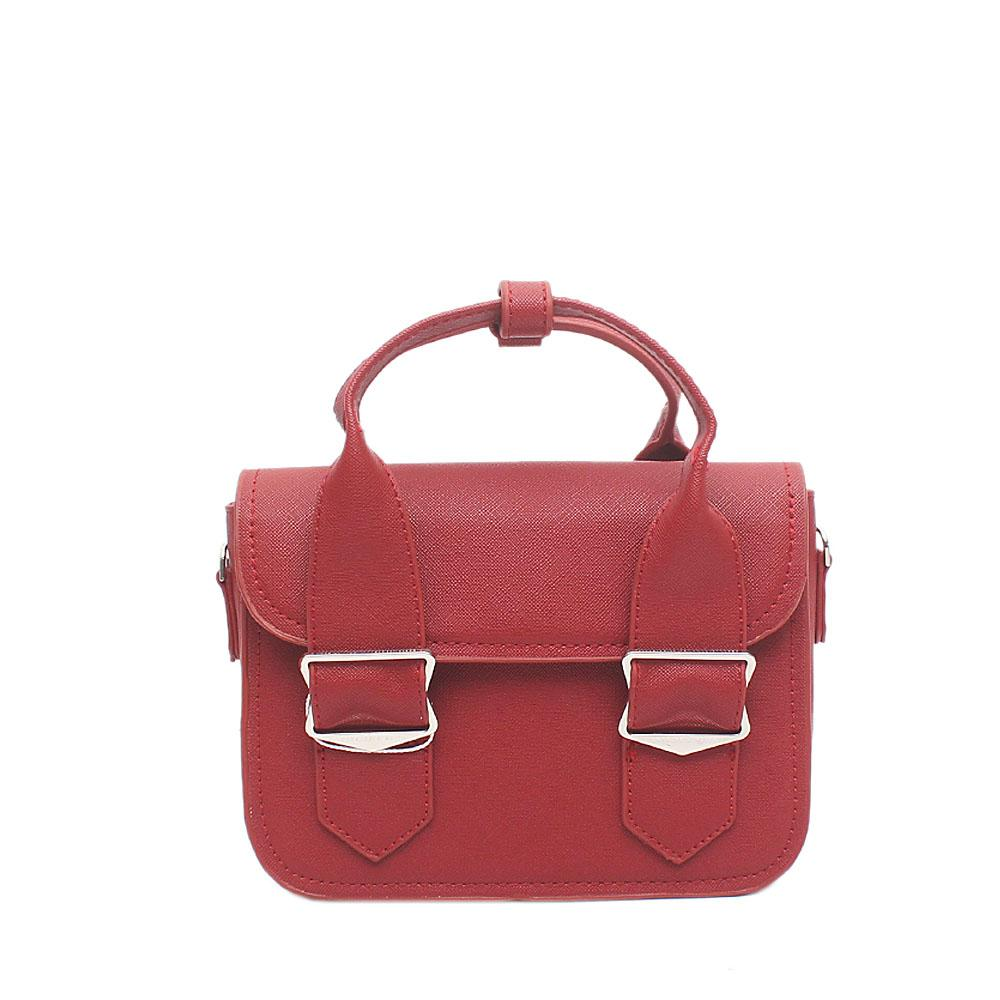 London Style Maroon Red Leather Mini Handbag