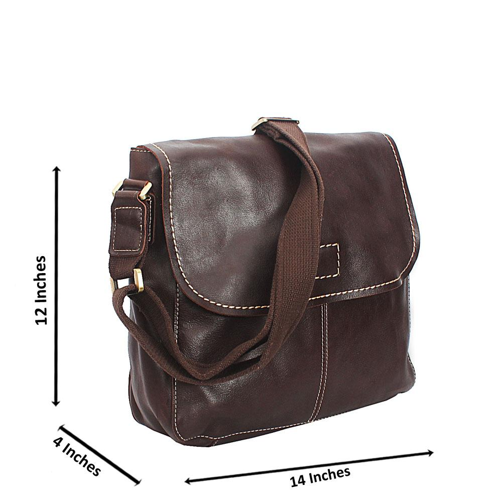 Coffee Brown Smooth Grain Messenger Bag
