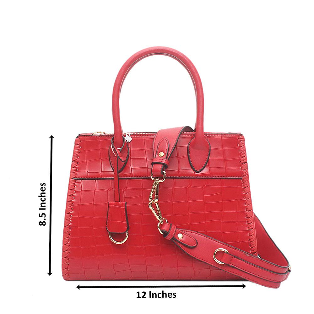 London Style Red Croc Leather Tote Bag