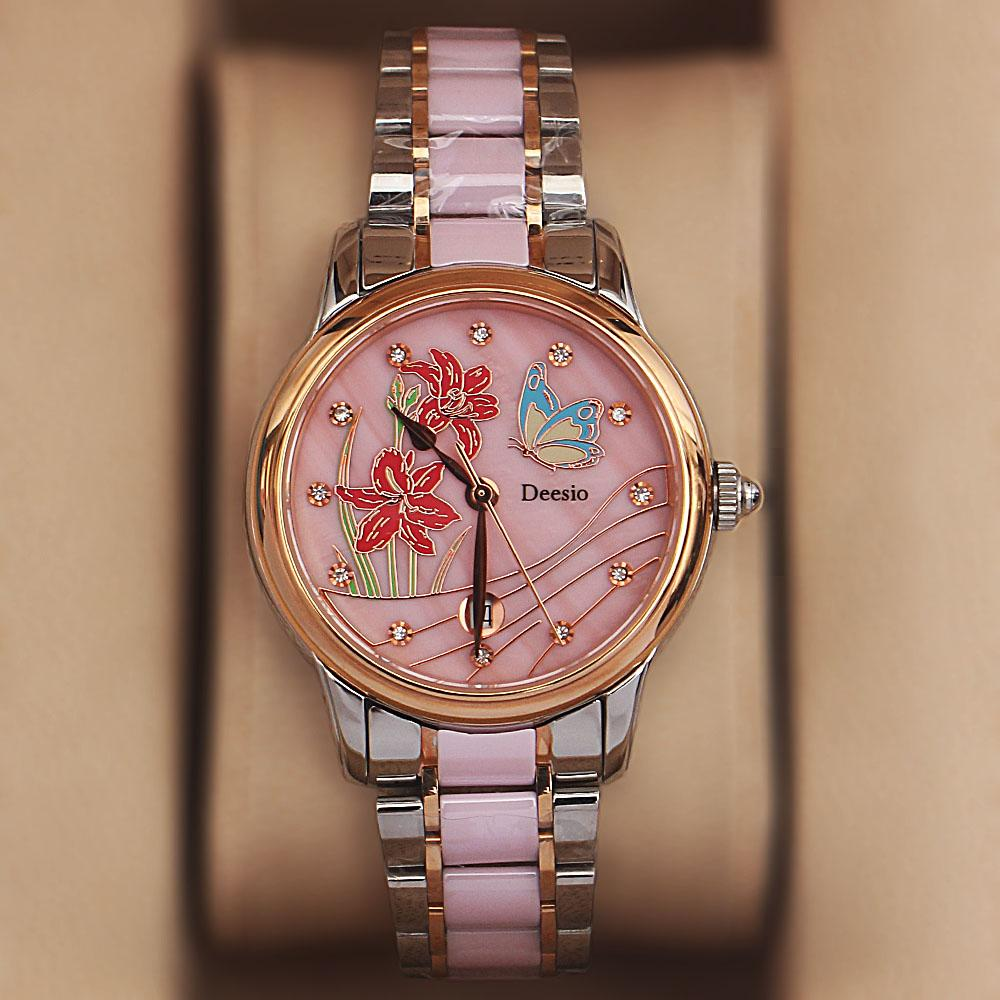 Deesio 2-Tone Pink Ceramic Ladies Watch