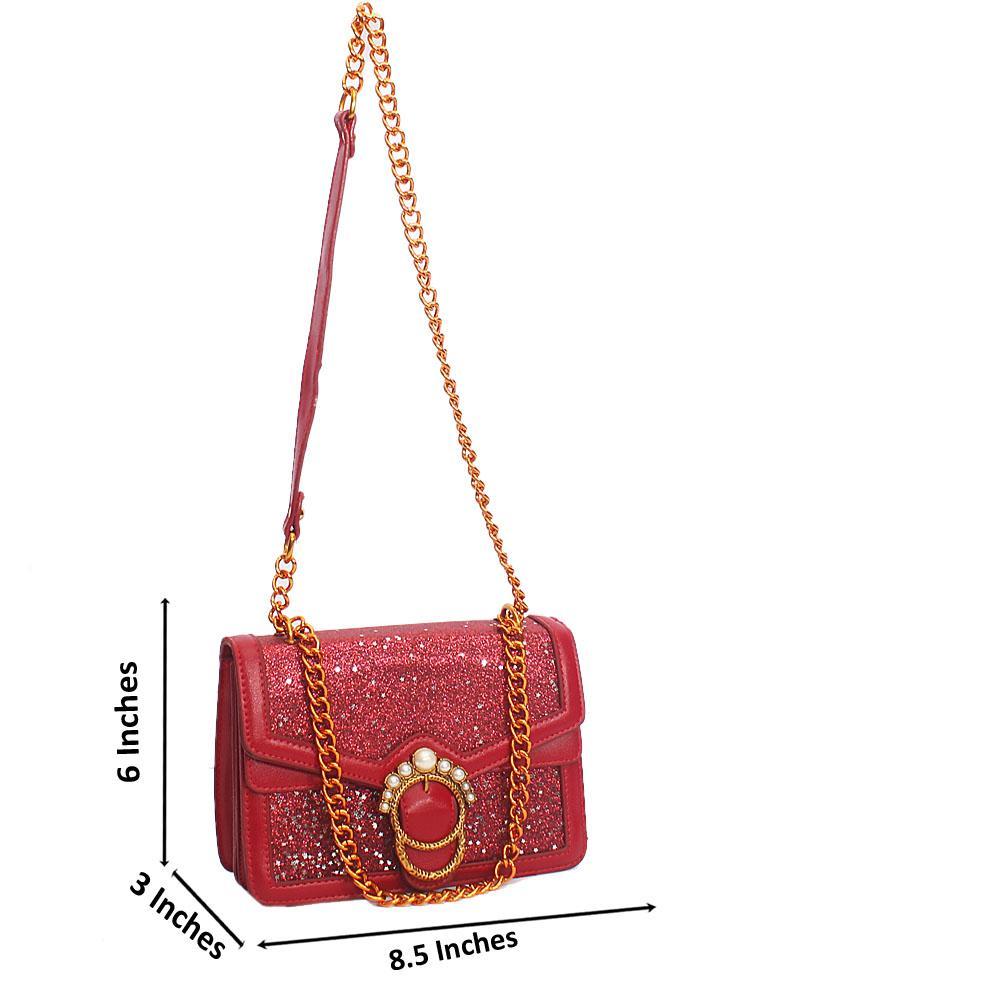 Wine Melrose Glitz Leather Shoulder Handbag