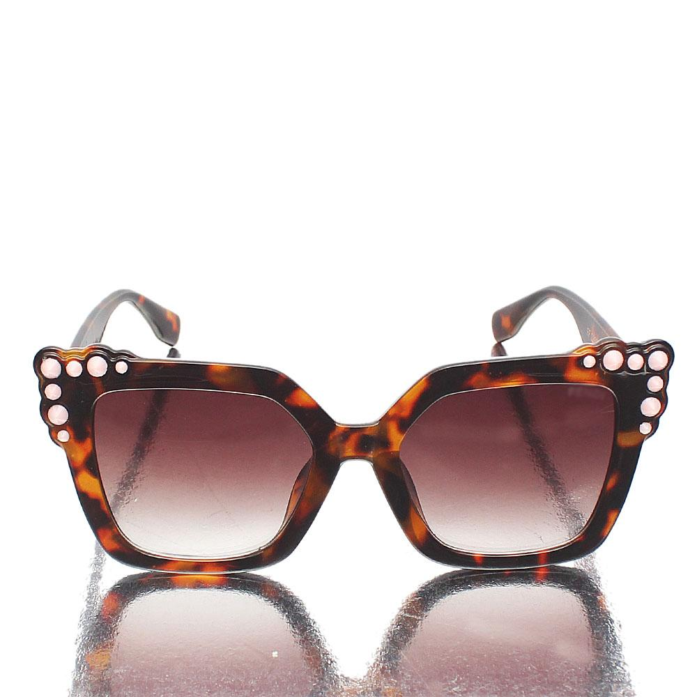 Brown Pink Studs Butterfly Sunglasses