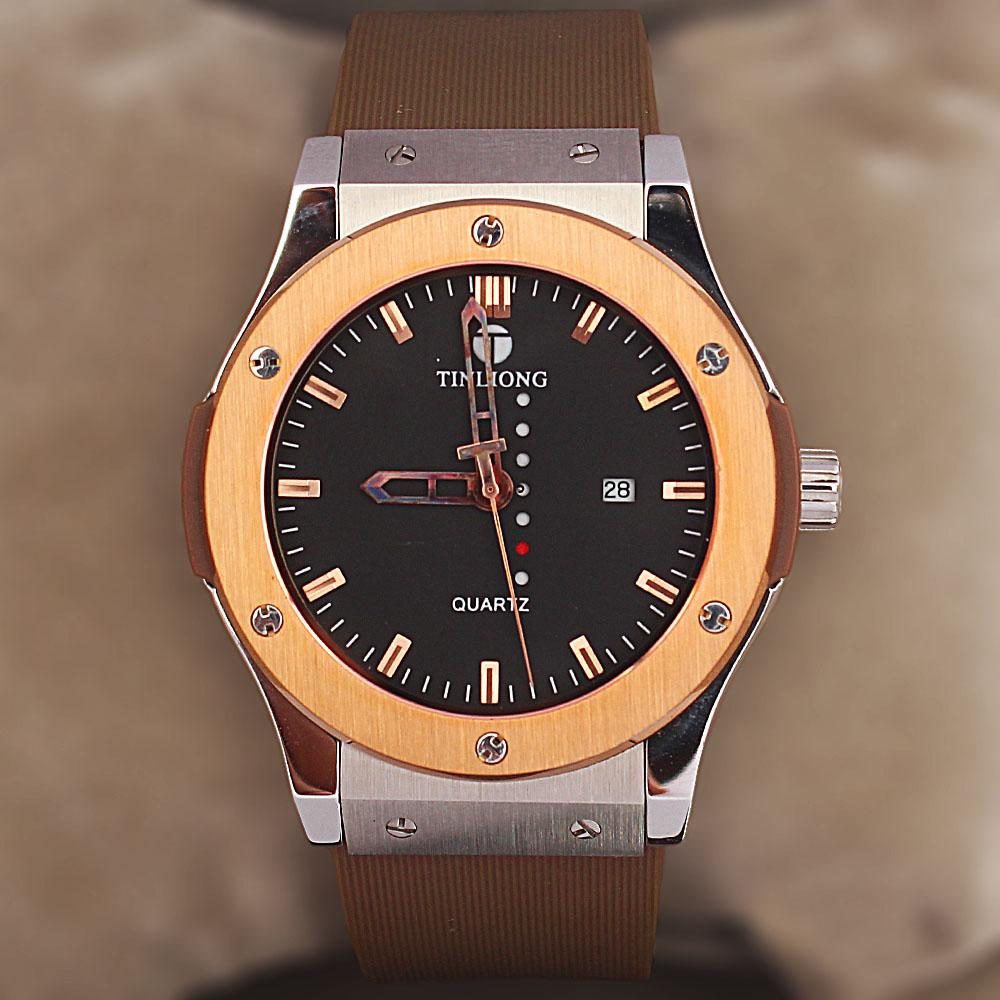 Classic  Fit Brown Rubber Strap Watch