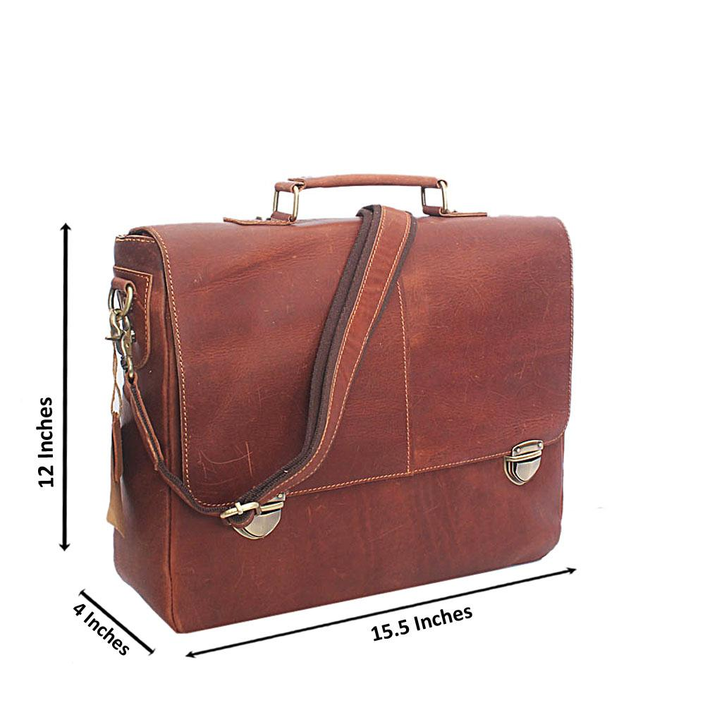 Tan Brown Double Clip Hand Made Leather Briefcase