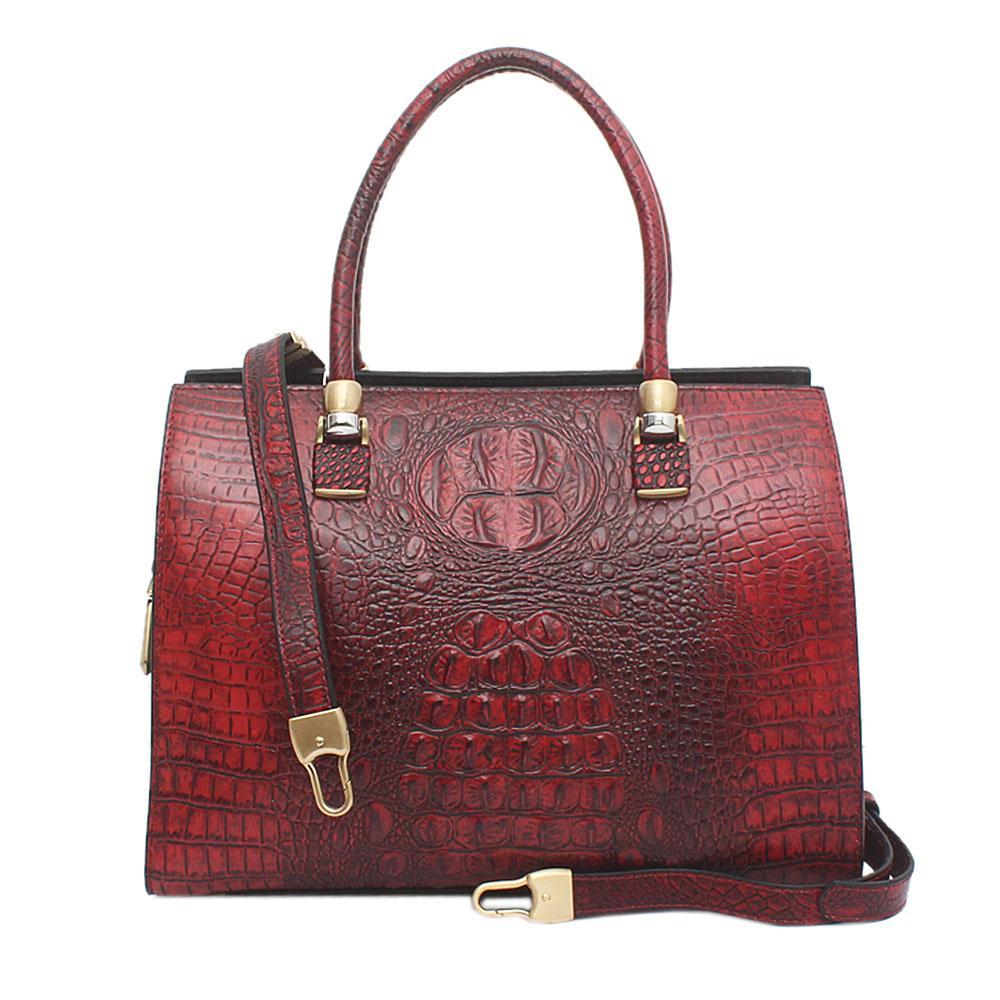 Genaari Riccardo Wine Saffiano Leather Tote Bag