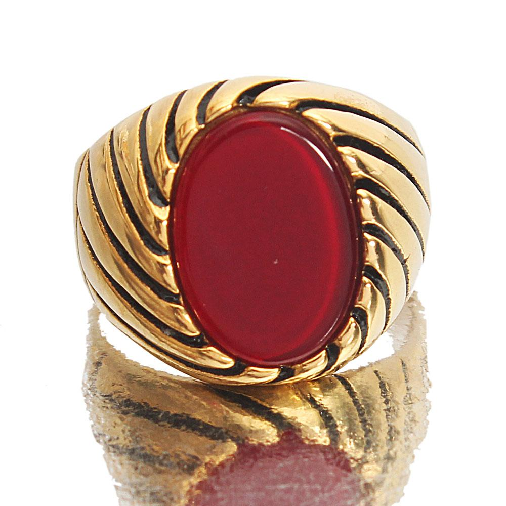Gold Steel Wine Classic Ring
