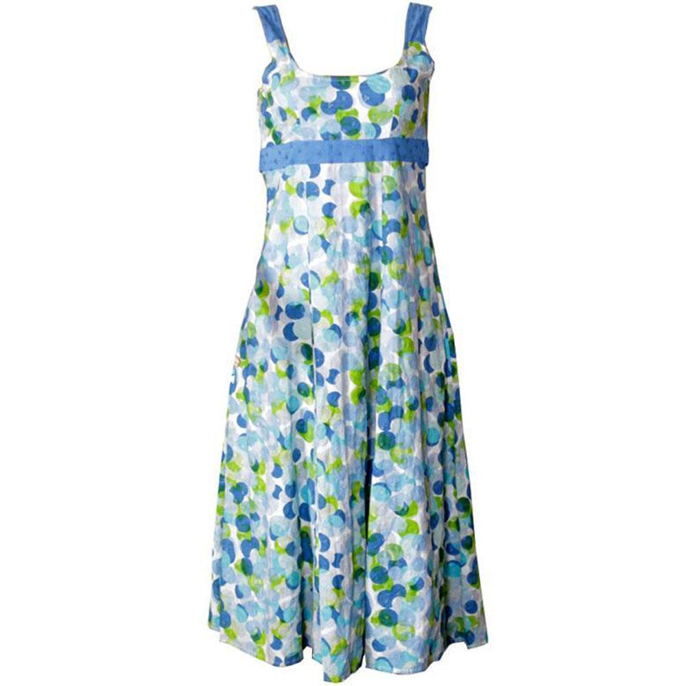 M&S Peruna Blue/Lemon/White S/L Ladies Dress-Uk 14