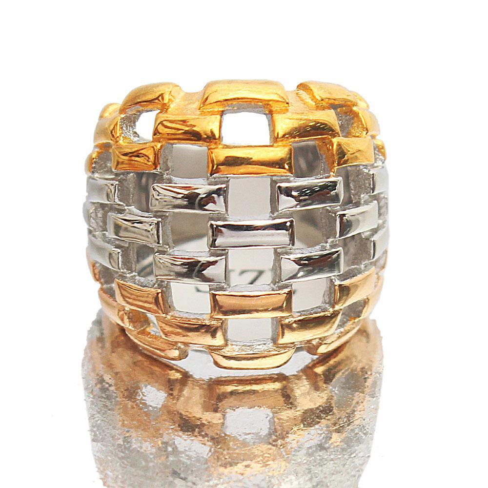 Twin-Tone Mesh Steel Style Vintage Ladies Ring
