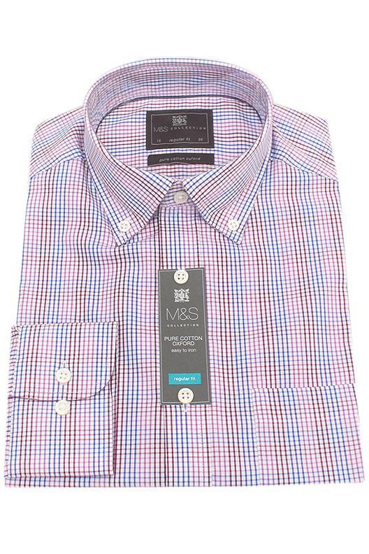 M&S Collection Multicolor Check Regular Fit Men Shirt