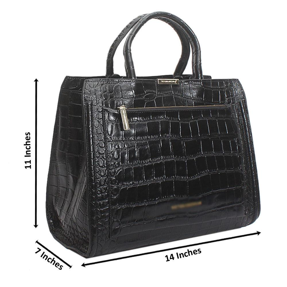 Black Nastro Croc Saffiano Leather Handbag