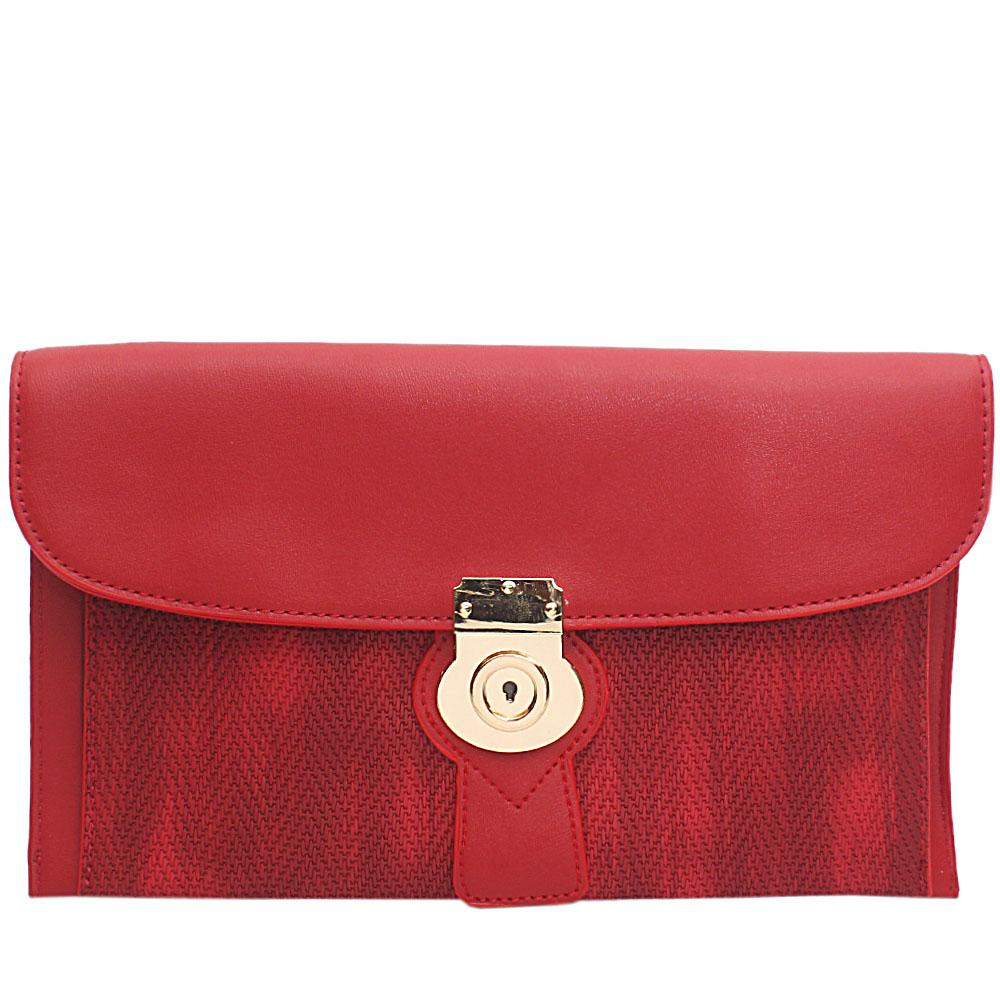 Red Woven Style Leather Flat Purse