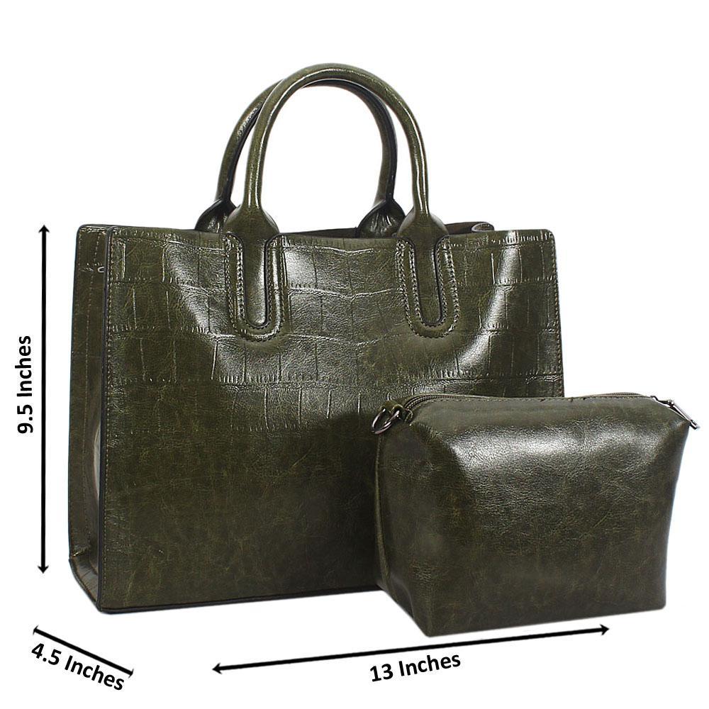Green Alice Croc Leather Tote Handbag