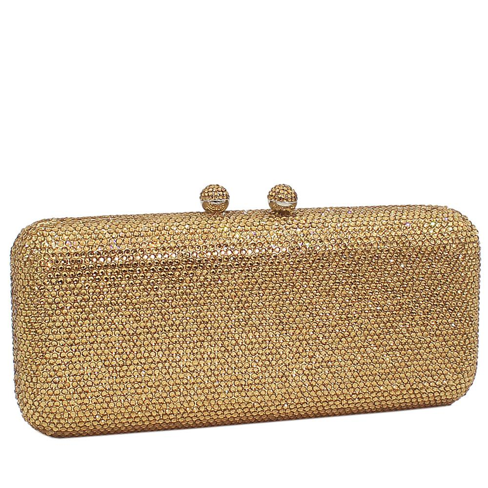 Gold Crystals Studded Clutch Purse