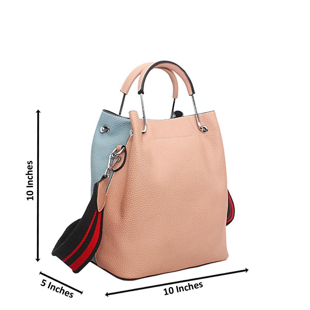 Sky Blue Biege Leather Small Handbag