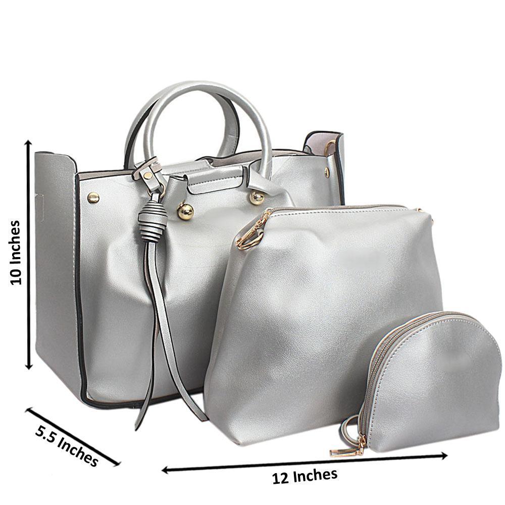 Silver Leather Medium Nice Handbag