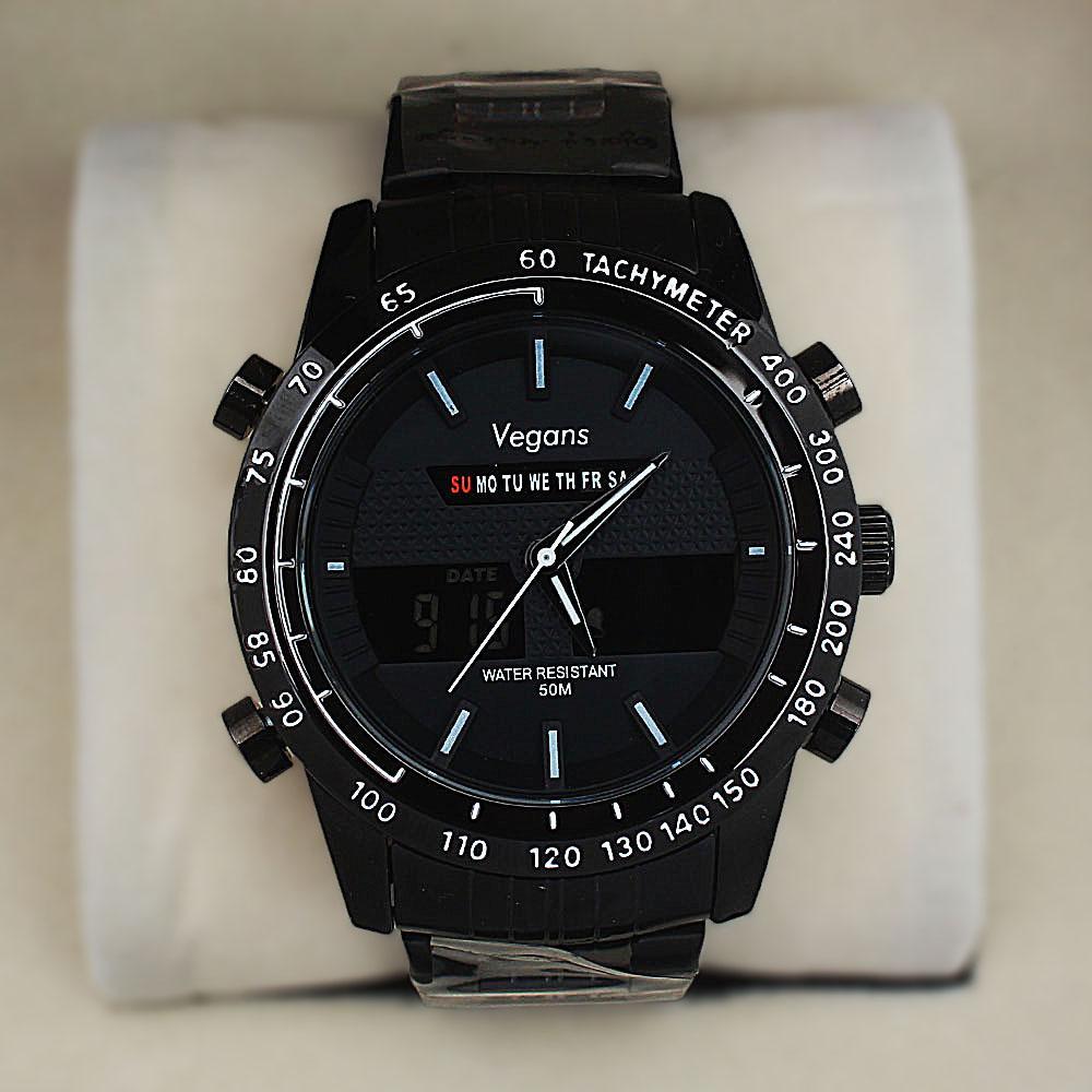 Vegans Black Stainless Steel 50M White-Dial Analog-Digital Watch