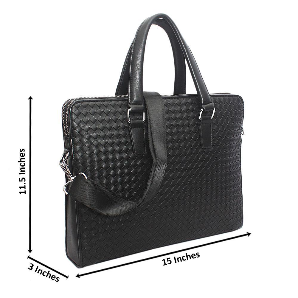 Black Woven Double Zip Tote Man Bag