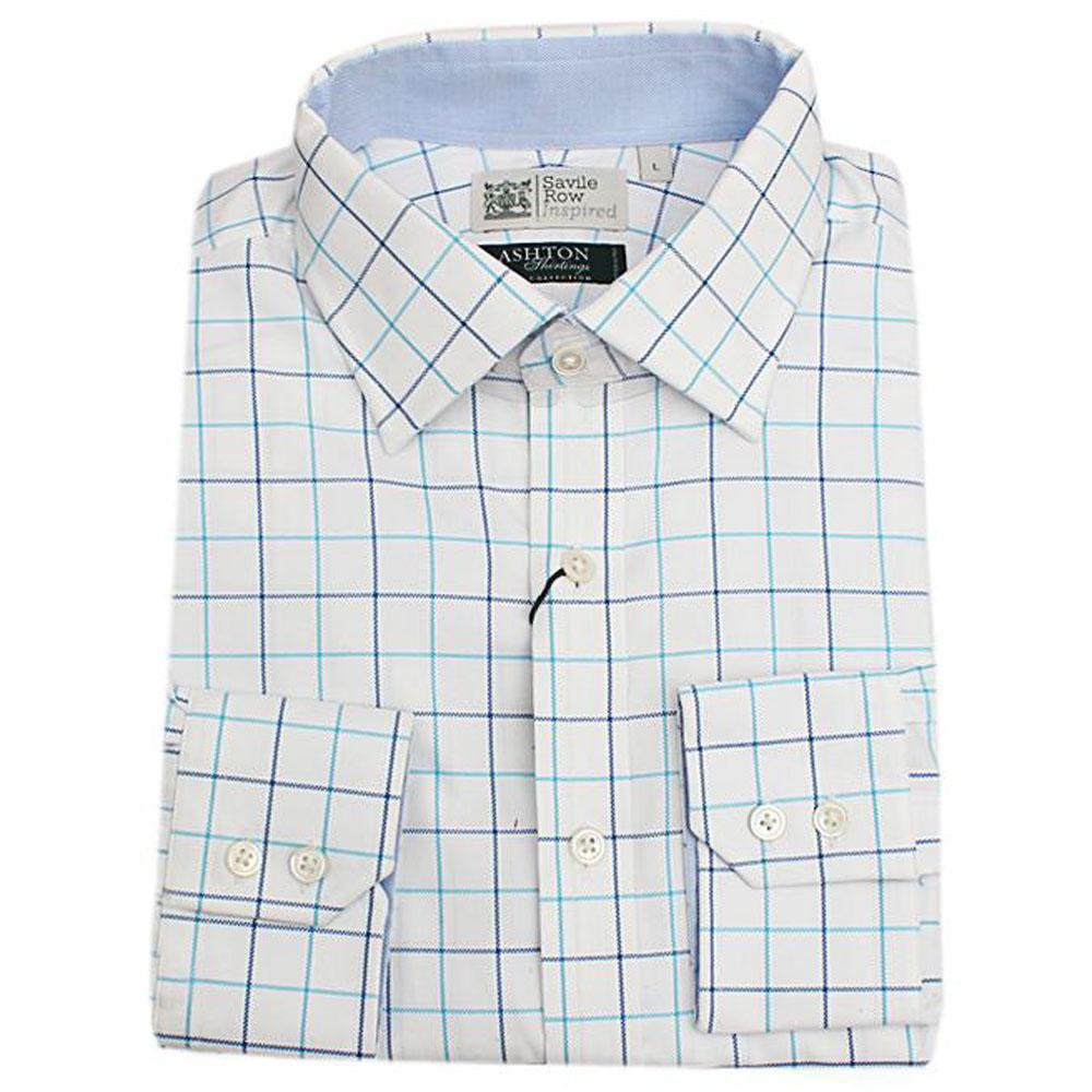 Savile Row Egyptian Cotton Blue/White Check L/Sleeve Men Shirt