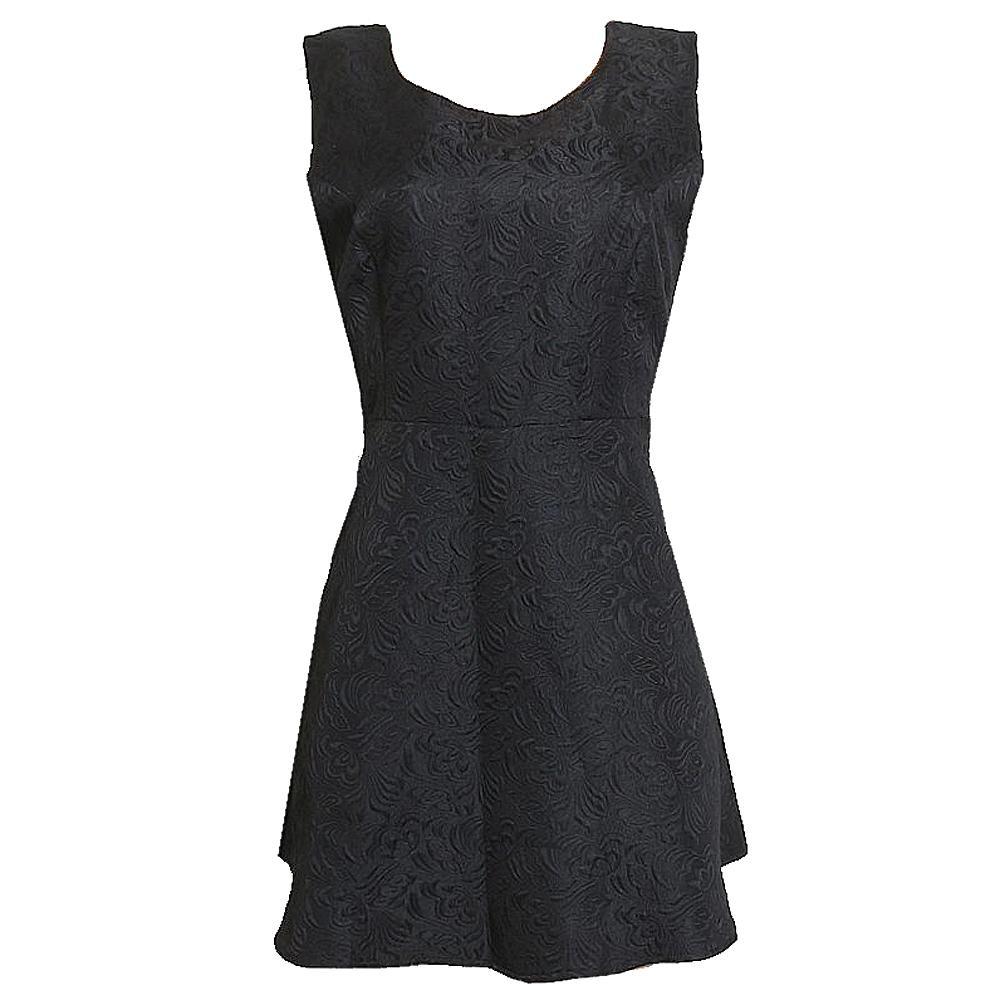 Stella Morgan Black Floral Design Cotton Dress