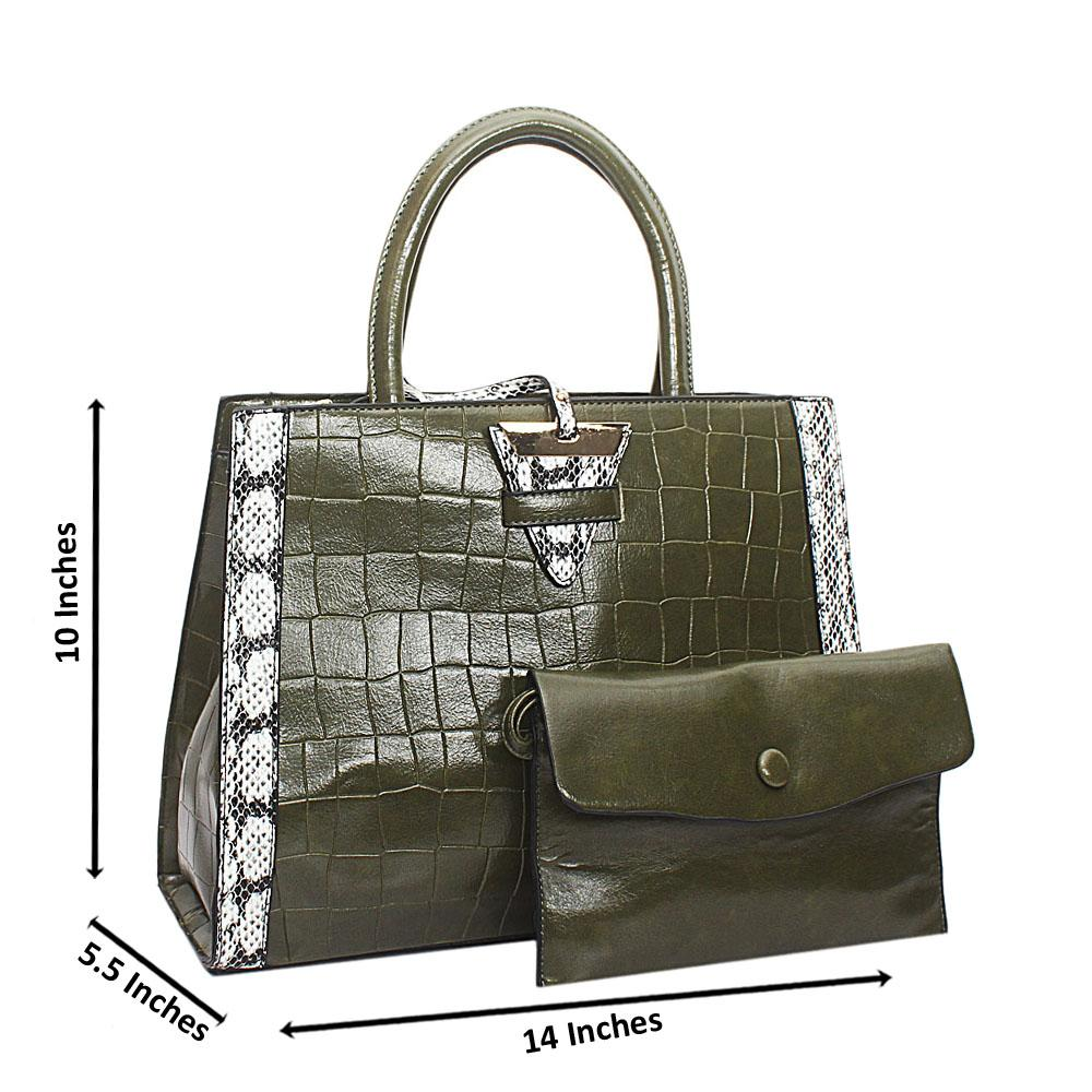 Green Croc Leather Marcus Handbag