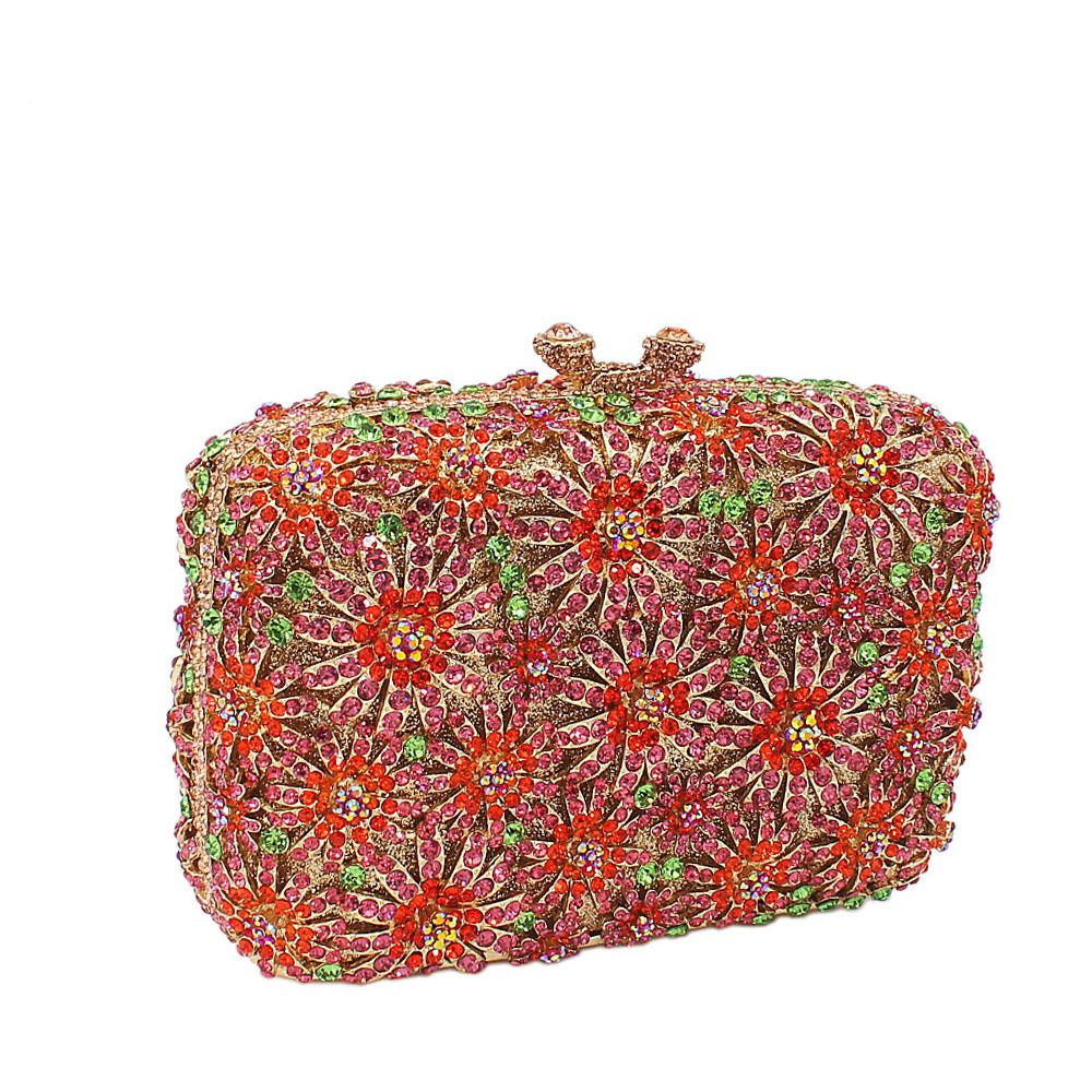 Red Flower Mix Diamante Crystals Clutch Purse