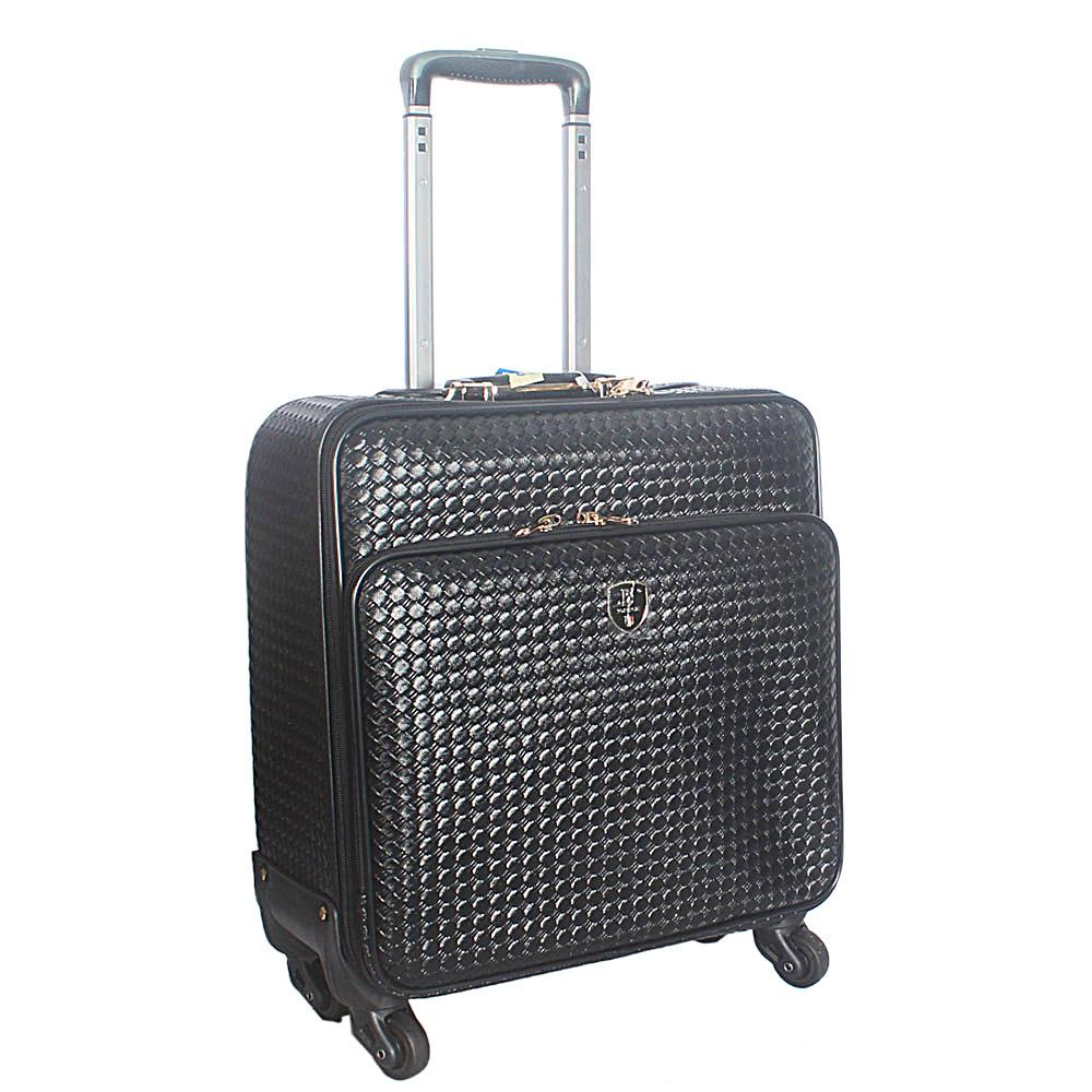 Black Wooven Style 16 Inch Leather Pilot Suitcase Wt Lock