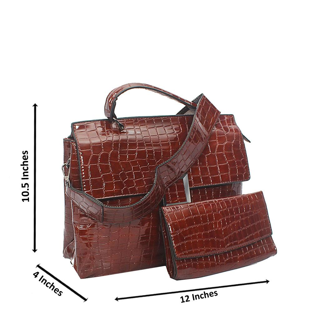 Brown Croc Leather Birkin Top Handle Handbag