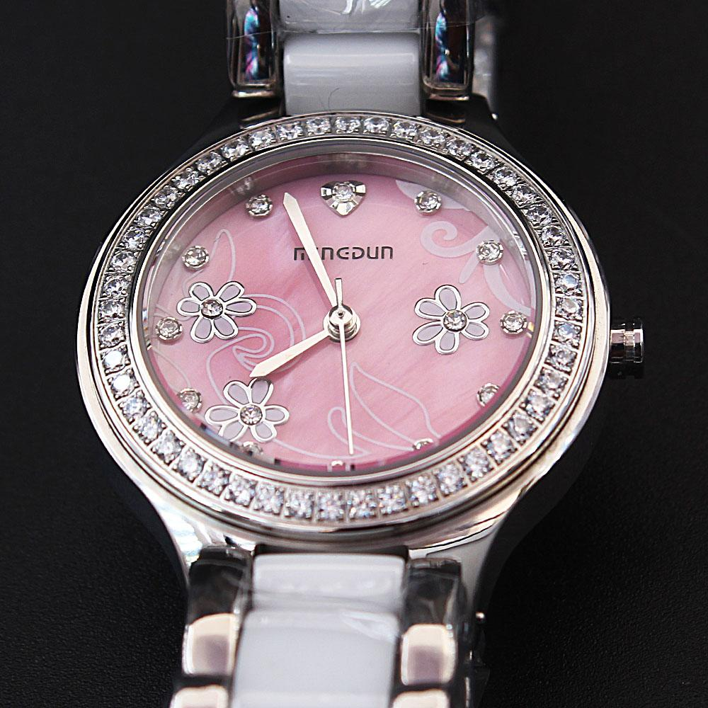 Empire Silver-Tone Flower Studded Ceramic Ladies Watch