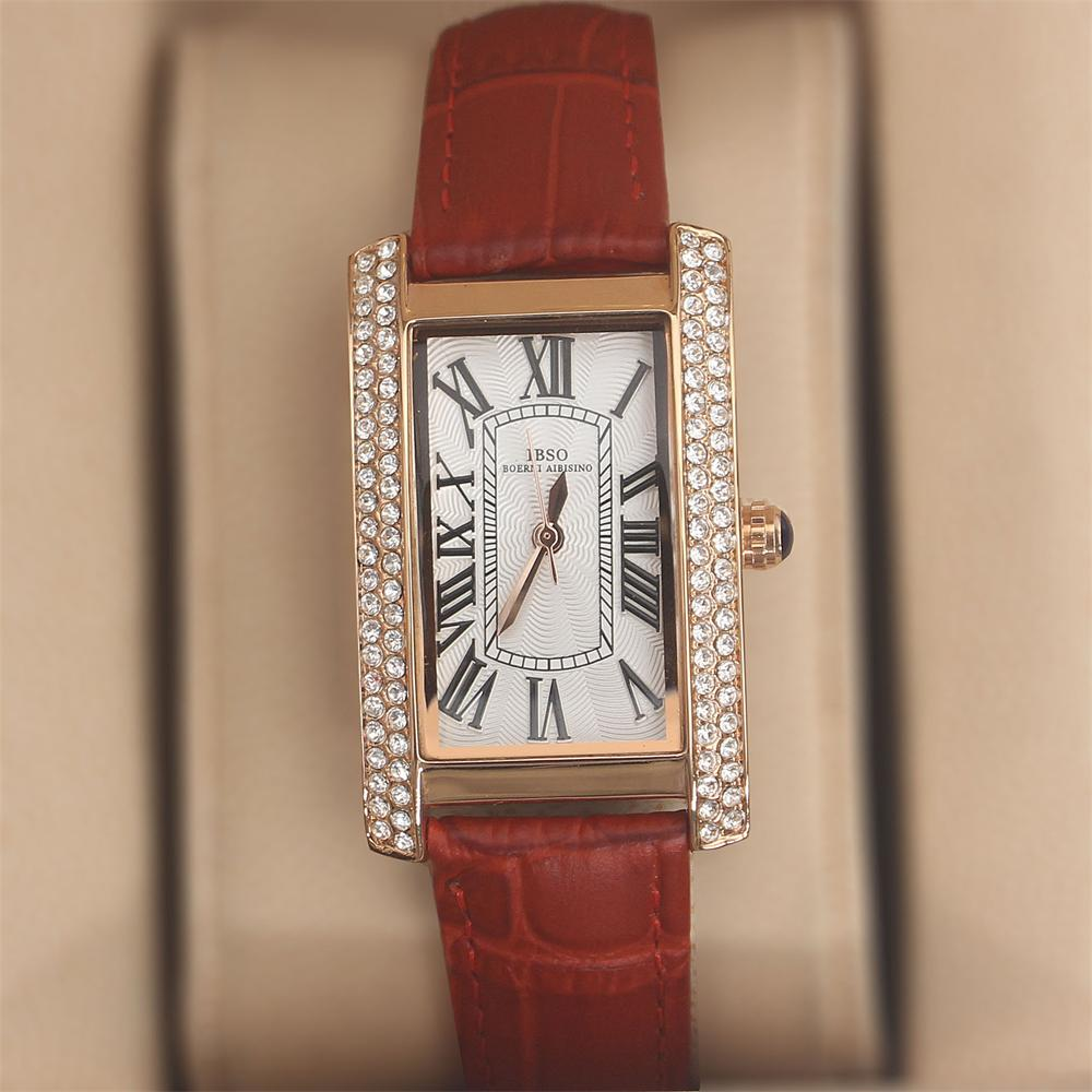 Crystal Rose Red Leather Ladies Watch