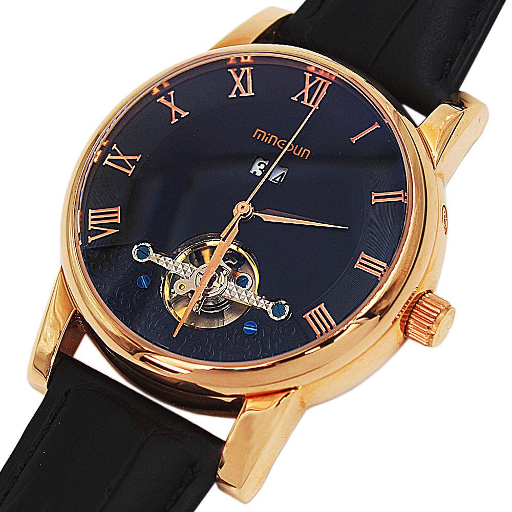 Shanghai Marcello Black Leather Automatic Date Classic Watch