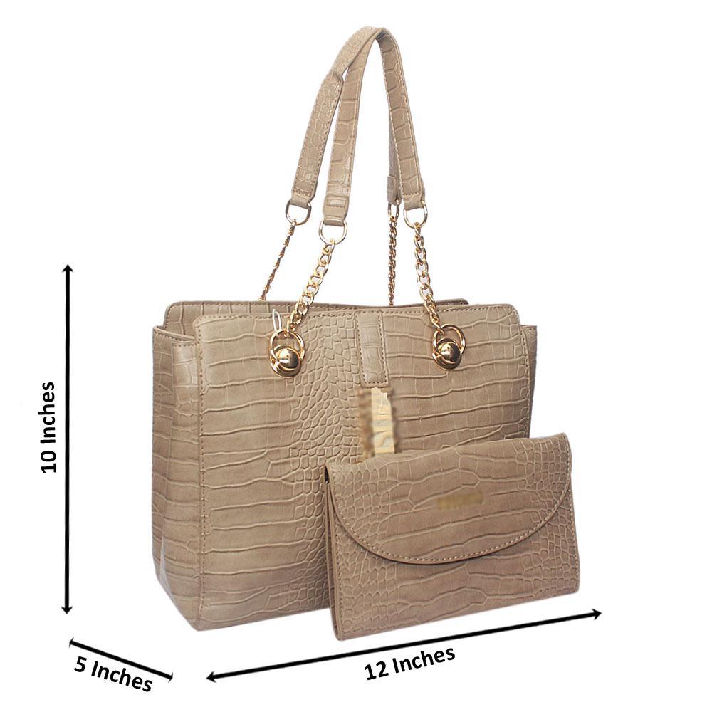 Khaki Amora Croc Leather Chain Shoulder Bag