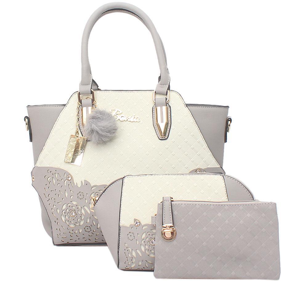 Bonia Gray White Leather 3 in 1 Bag