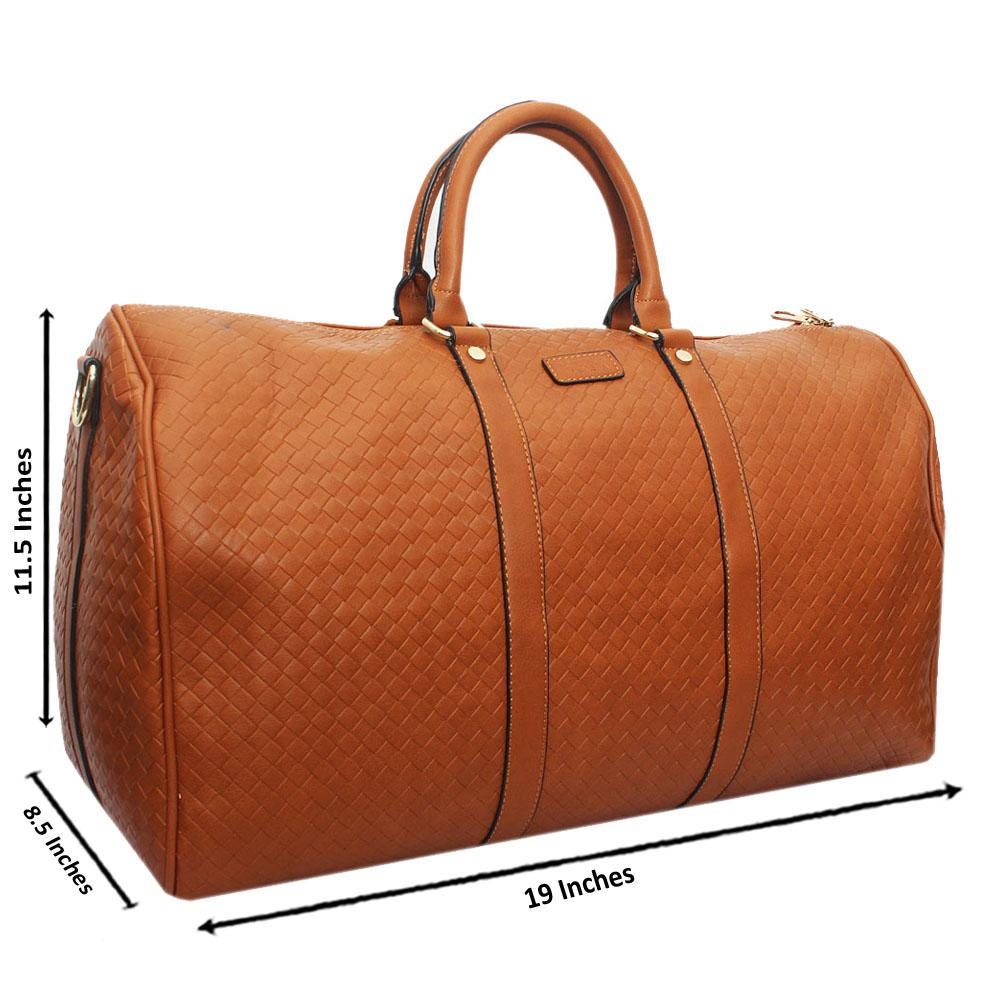 Brown Check Leather Large Boston Bag