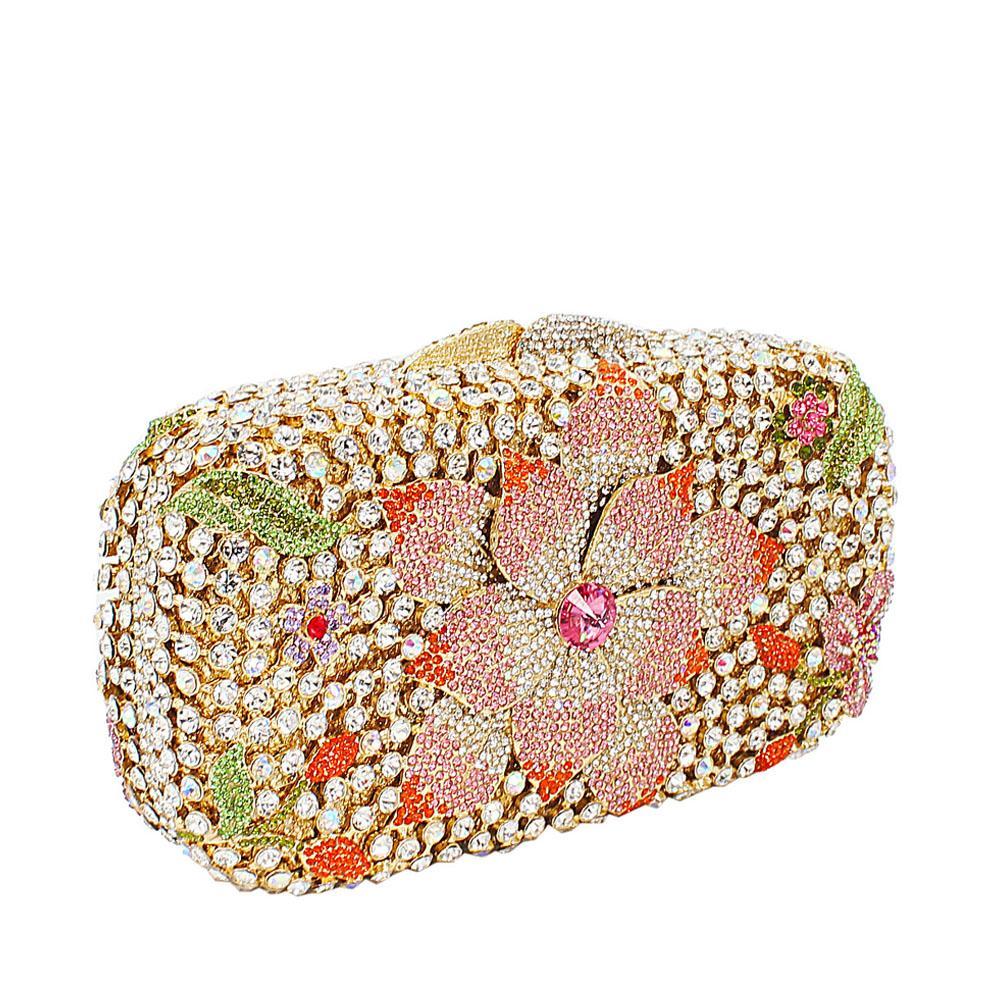 Gold Multicolor Diamante Crystal Clutch Purse