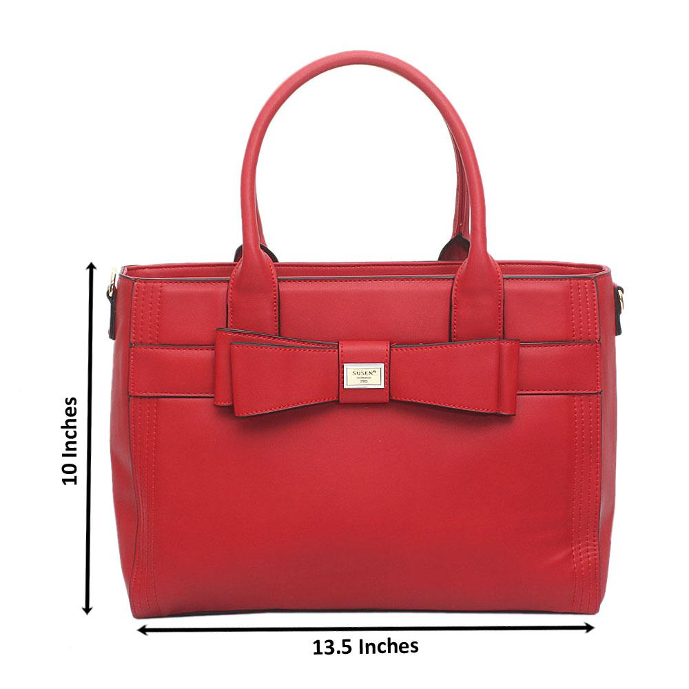 Susen Red Leather Handbag