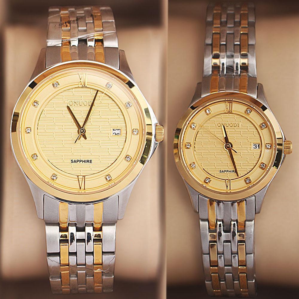Onuodi 2-Tone Sapphire Studded His & Hers Shanghai Watch