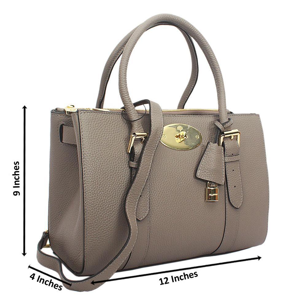 Gray Kya Double zip Cowhide Leather Tote Handbag
