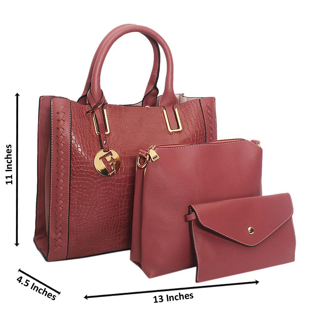 Dark Pink Serena Woven Croc Leather 3 in 1 Tote Handbag