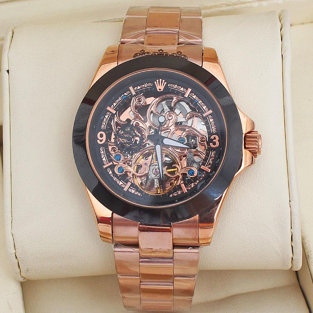 Automatic Rose Gold Steel Skeleton Mens Watch