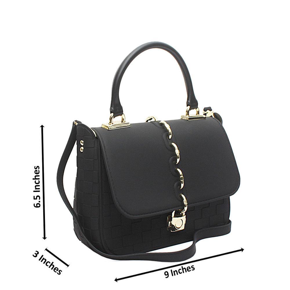 Black Rubber Mini Cutie  Handle Bag