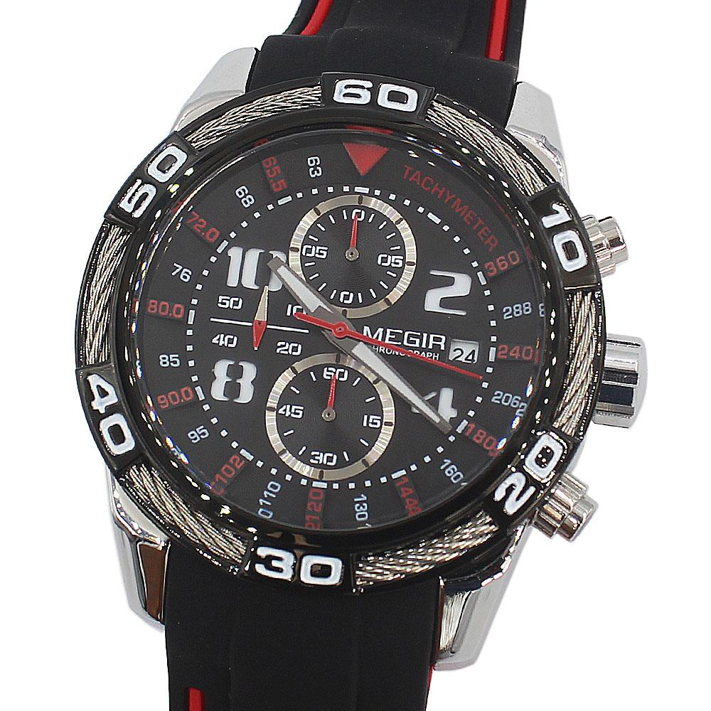 MG Silver Black Rubber Chronograph Watch