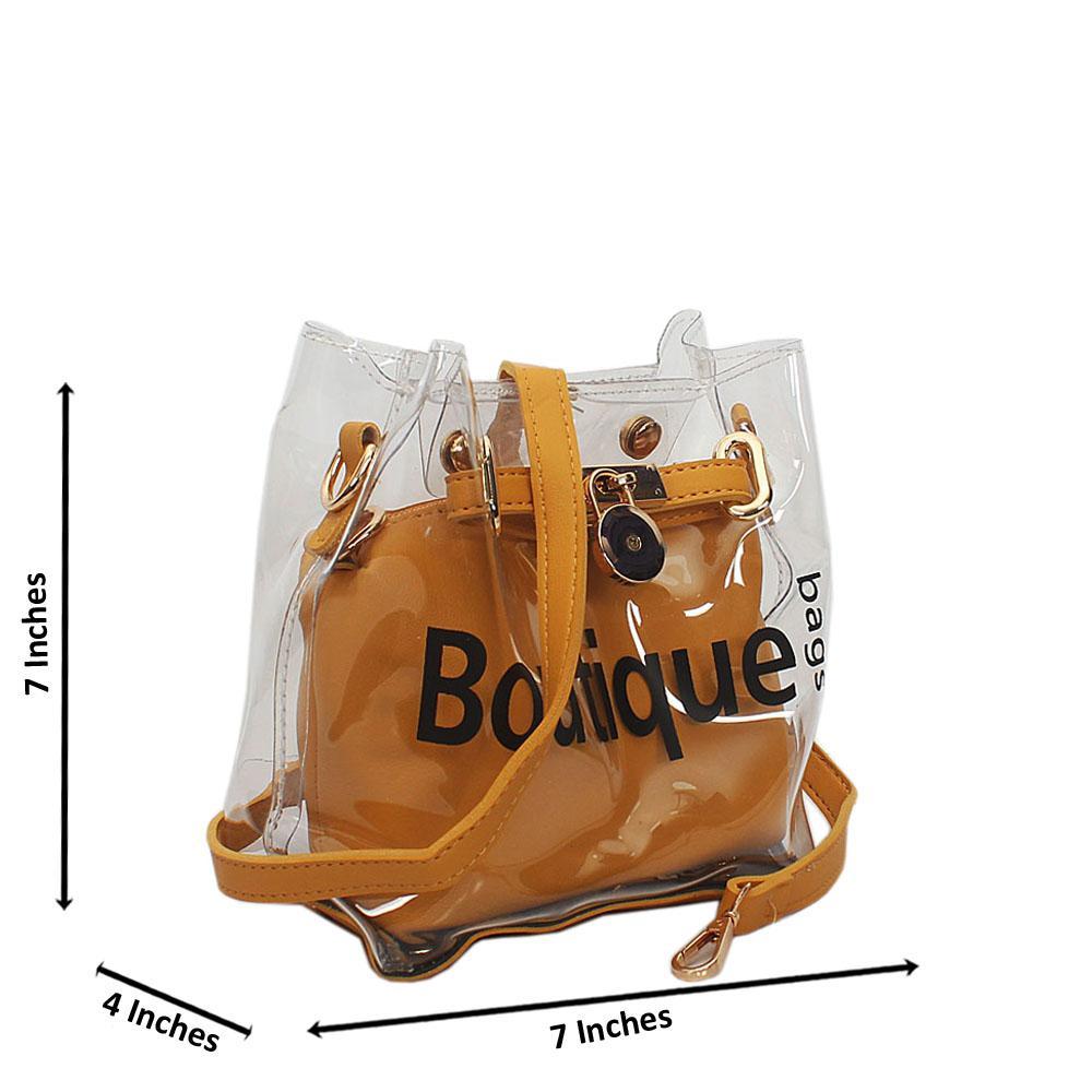 Yellow Transparent Rubber Leather Mini Handbag