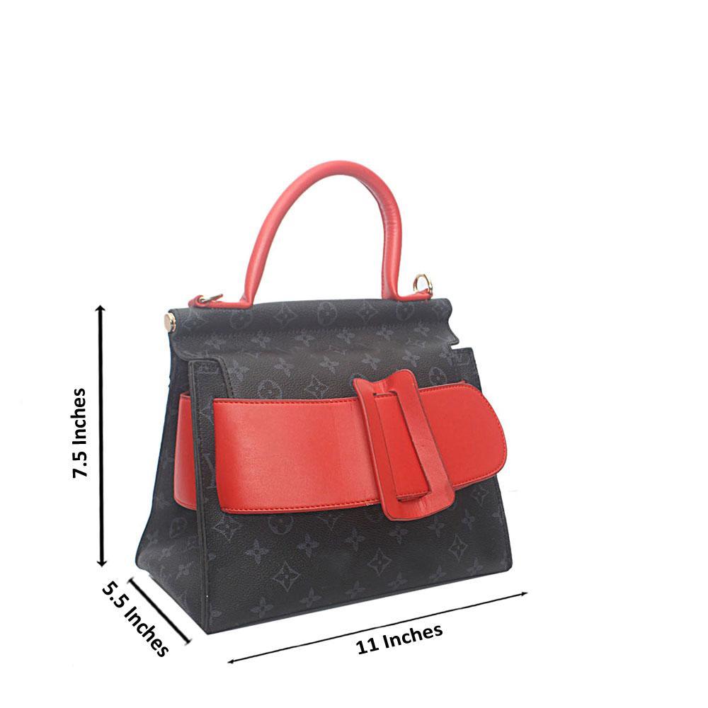 Black Red Leather Handbag