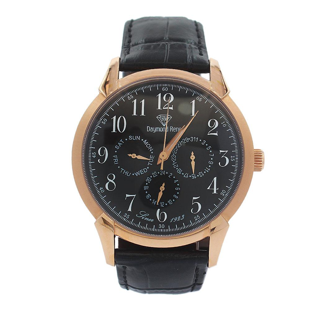 DR 3ATM Rose Gold Black Leather Pilot Series Watch