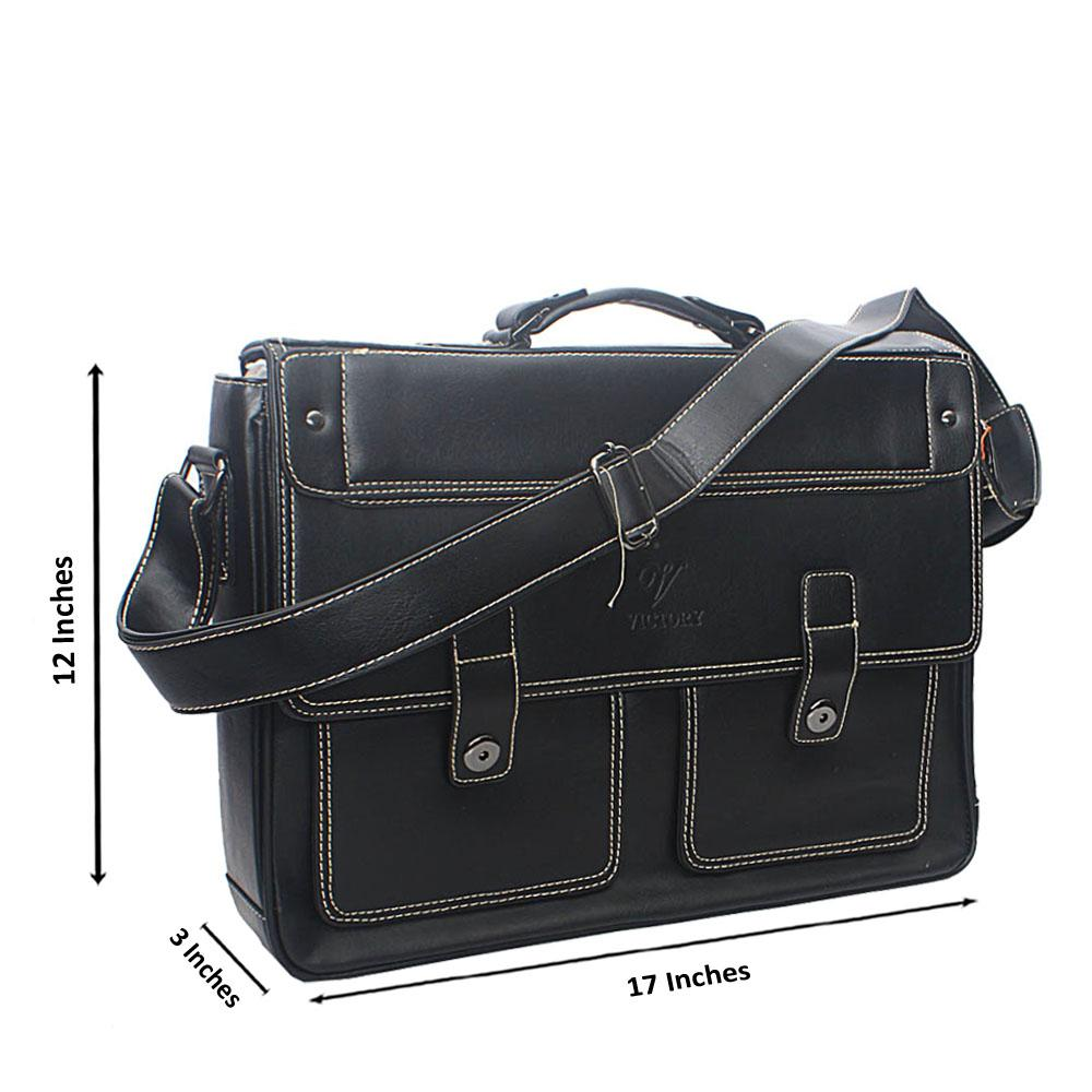 Black Double Pocket Leather Briefcase
