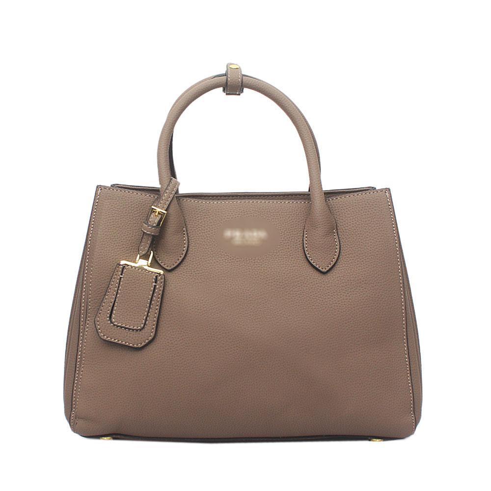 Khaki Brown Milano Leather Tote Bag