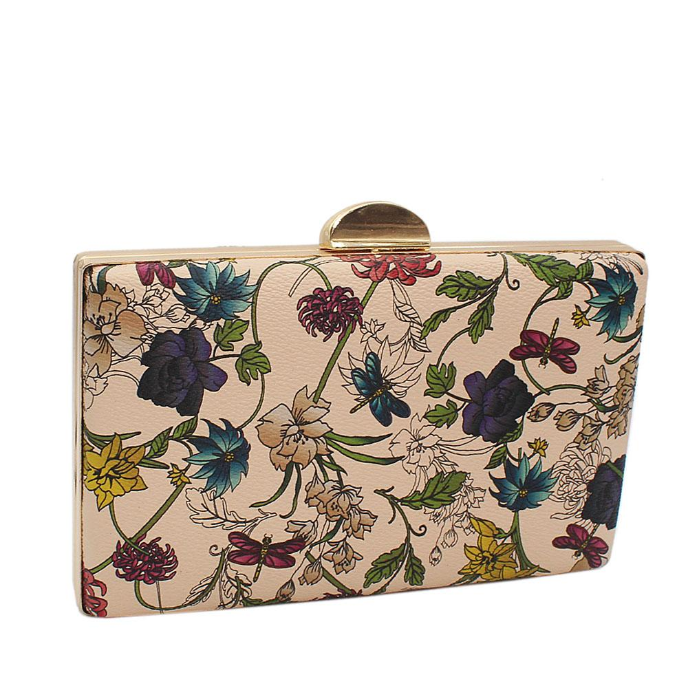 Light Brown Floral Print Leather Clutch Purse