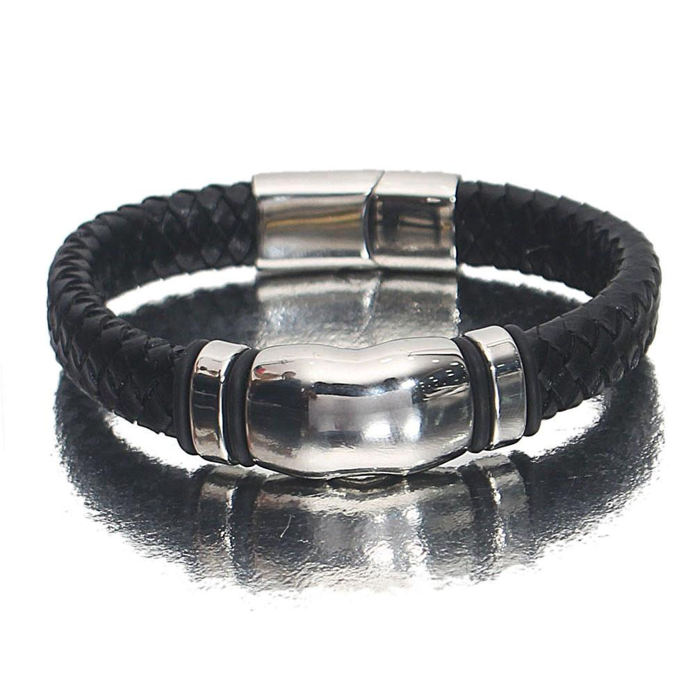 Silver Black Leather Bracelet
