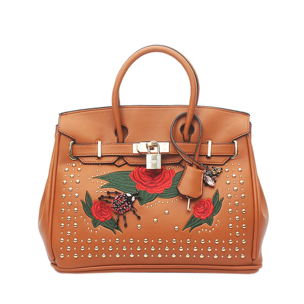 Brown Studded Leather Medium Tote Bag