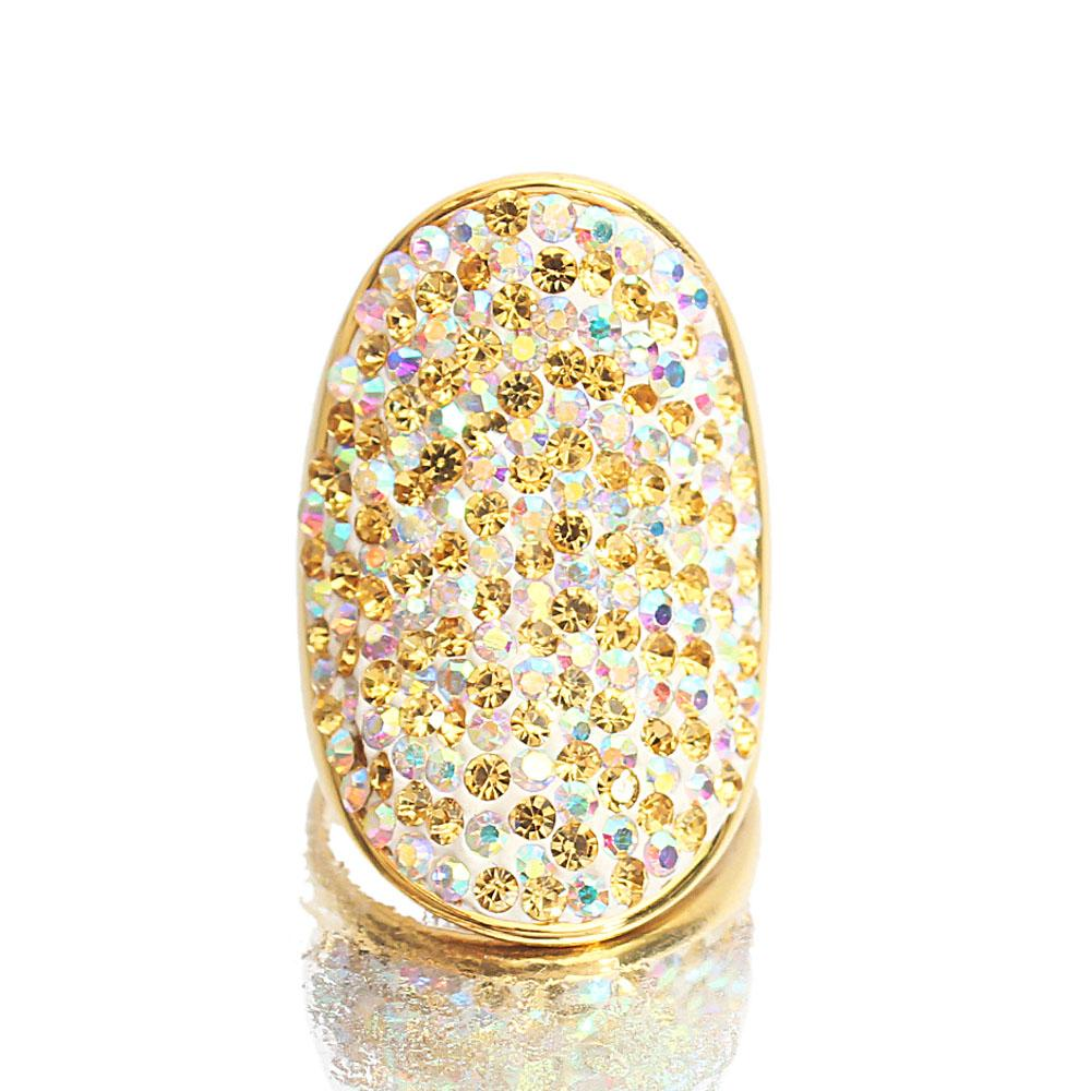 Gold Steel Studded Classic Ladies Ring
